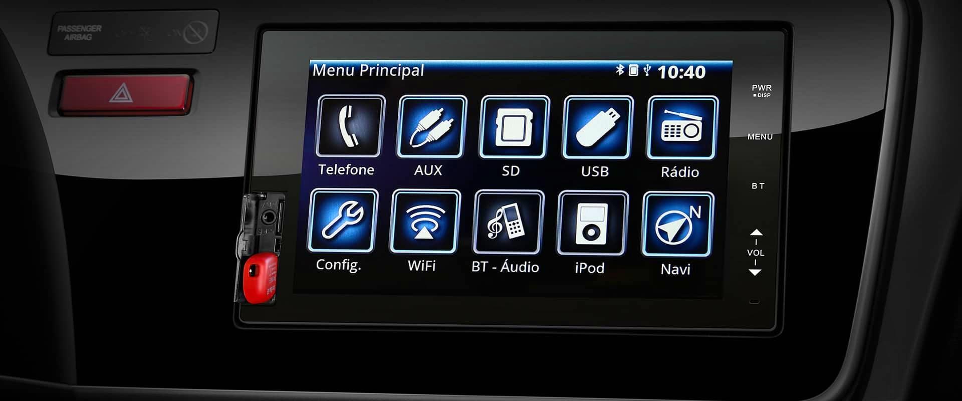 """Multimídia de 7"""" multi-touchscreen"""