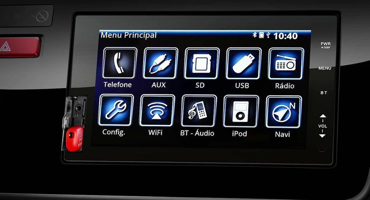 "Multimídia de 7"" multi-touchscreen"